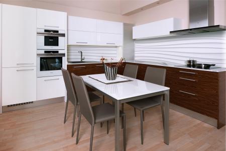 kuchyň dýha palisandr + lak lesk bílá,pracovní deska TECHNISTONE NOBLE SUPREME, Pardubice obr.528